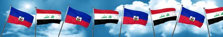 Haiti flag with Iraq flag, 3D rendering