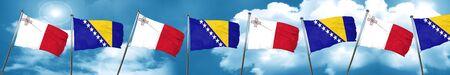 Malta flag with Bosnia and Herzegovina flag, 3D rendering