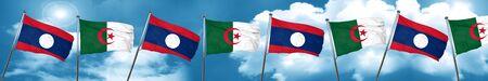 Laos flag with Algeria flag, 3D rendering