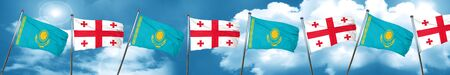 georgia: Kazakhstan flag with Georgia flag, 3D rendering