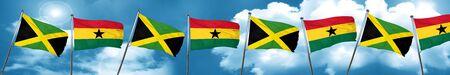 ghanese: Jamaica flag with Ghana flag, 3D rendering