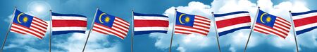 Malaysia flag with Costa Rica flag, 3D rendering