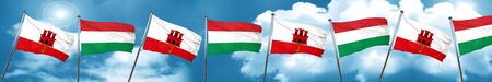 gibraltar flag with Hungary flag, 3D rendering