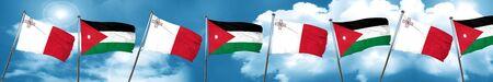 Malta flag with Jordan flag, 3D rendering Stock Photo