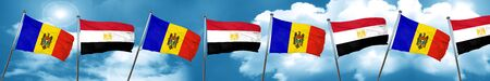 bandera de egipto: Bandera de Moldavia con la bandera de Egipto, representación 3D