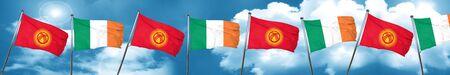 ireland flag: Kyrgyzstan flag with Ireland flag, 3D rendering