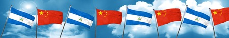 nicaragua: nicaragua flag with China flag, 3D rendering Stock Photo