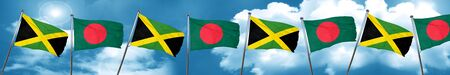 jamaican: Jamaica flag with Bangladesh flag, 3D rendering
