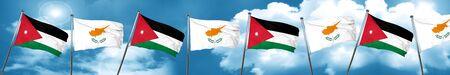 Jordan flag with Cyprus flag, 3D rendering Stock Photo