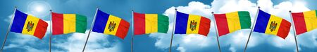 Moldova flag with Guinea flag, 3D rendering
