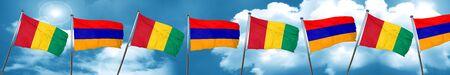 armenia: Guinea flag with Armenia flag, 3D rendering
