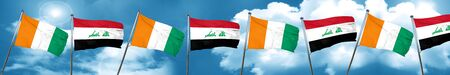 Ivory coast flag with Iraq flag, 3D rendering