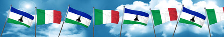 lesotho: Lesotho flag with Italy flag, 3D rendering