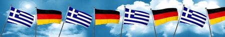 Greece flag with Germany flag, 3D rendering