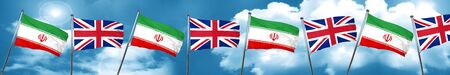 iran flag with Great Britain flag, 3D rendering