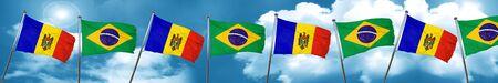 moldova: Moldova flag with Brazil flag, 3D rendering Stock Photo