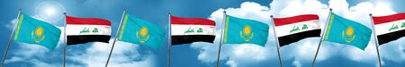 Kazakhstan flag with Iraq flag, 3D rendering Stock Photo