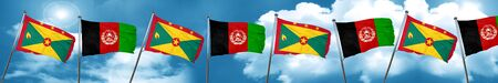 Grenada flag with afghanistan flag, 3D rendering Stock Photo