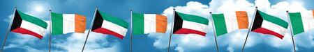 ireland flag: Kuwait flag with Ireland flag, 3D rendering Stock Photo