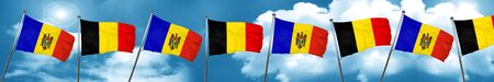 Moldova flag with Belgium flag, 3D rendering
