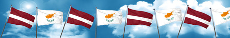 Latvia flag with Cyprus flag, 3D rendering