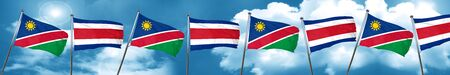 Namibia flag with Costa Rica flag, 3D rendering