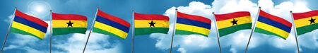 Mauritius flag with Ghana flag, 3D rendering Stock Photo