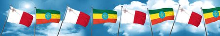 Malta flag with Ethiopia flag, 3D rendering