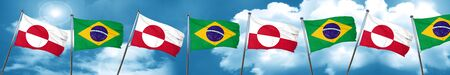 greenland flag with Brazil flag, 3D rendering Stock Photo