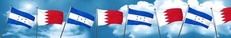 combines: Bandera de Honduras con la bandera de Bahrein, representación 3D