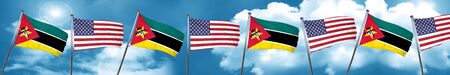 Mozambique flag with American flag, 3D rendering