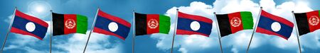 Laos flag with afghanistan flag, 3D rendering