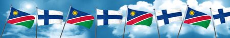 finnish: Namibia flag with Finland flag, 3D rendering Stock Photo