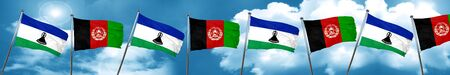Lesotho flag with afghanistan flag, 3D rendering Stock Photo