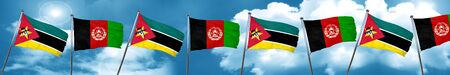 Mozambique flag with afghanistan flag, 3D rendering Stock Photo