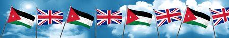 Jordan flag with Great Britain flag, 3D rendering