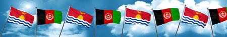 Kiribati flag with afghanistan flag, 3D rendering