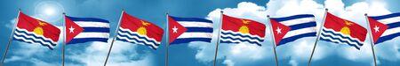 Bandera de Kiribati con la bandera de Cuba, 3D Foto de archivo