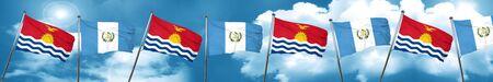 Kiribati flag with Guatemala flag, 3D rendering