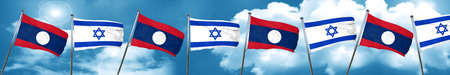 israel flag: Laos flag with Israel flag, 3D rendering