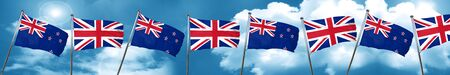 new england: New zealand flag with Great Britain flag, 3D rendering Stock Photo