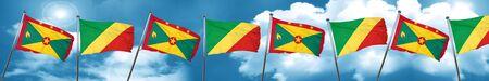 grenada: Grenada flag with congo flag, 3D rendering Stock Photo