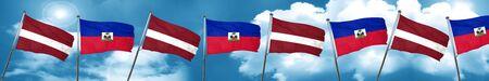 haiti: Latvia flag with Haiti flag, 3D rendering