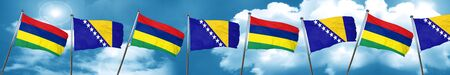 Mauritius flag with Bosnia and Herzegovina flag, 3D rendering