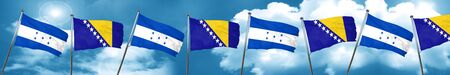 bandera honduras: Honduras flag with Bosnia and Herzegovina flag, 3D rendering