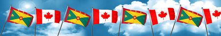 Grenada flag with Canada flag, 3D rendering Stock Photo