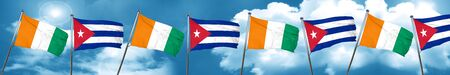 cuban culture: Ivory coast flag with cuba flag, 3D rendering Stock Photo