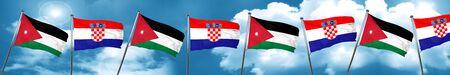 bandera de croacia: Jordan flag with Croatia flag, 3D rendering