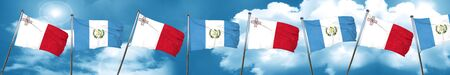 malta: Malta flag with Guatemala flag, 3D rendering