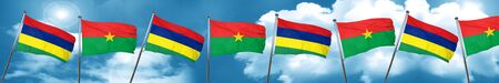 Mauritius flag with Burkina Faso flag, 3D rendering